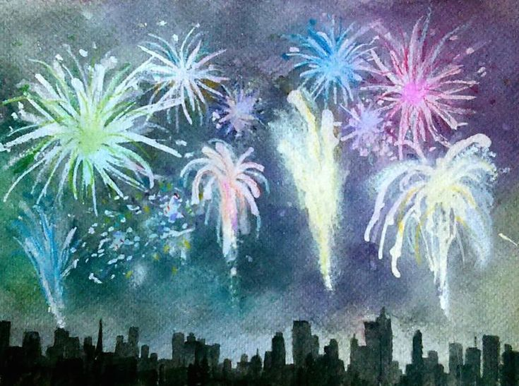 Fireworks Watercolor 4th Of July