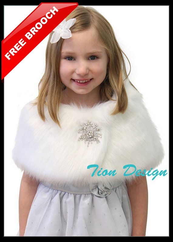 Bridal wrap faux fur shrug White Faux Fox Fur Wrap by TionDesign