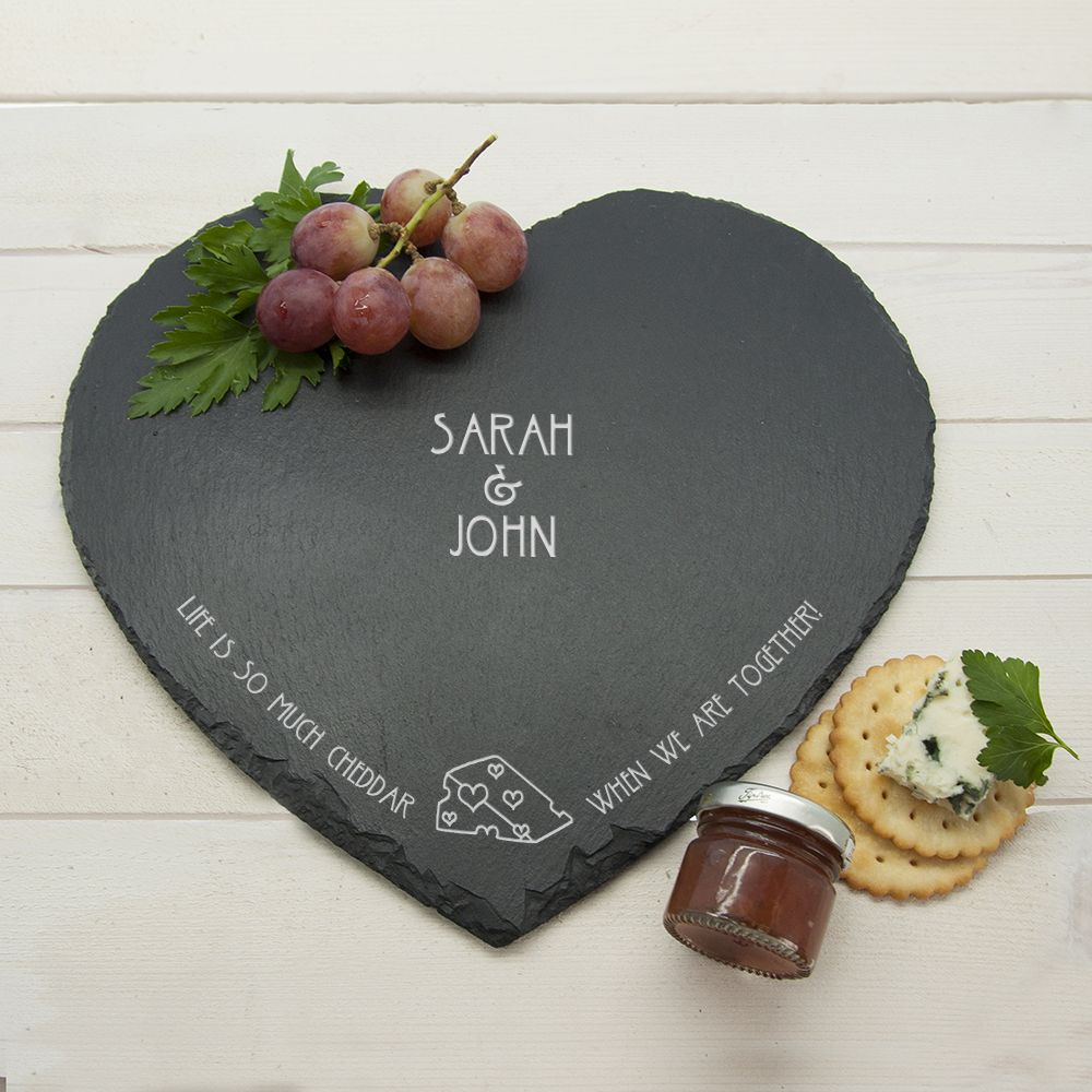 A romantic heart shaped cheese board with a fabulous