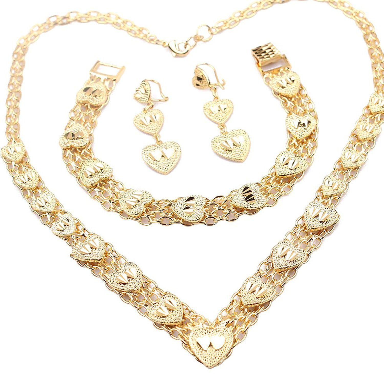 Loyoe jewelry k gold plated womens necklace bracelet earrings set