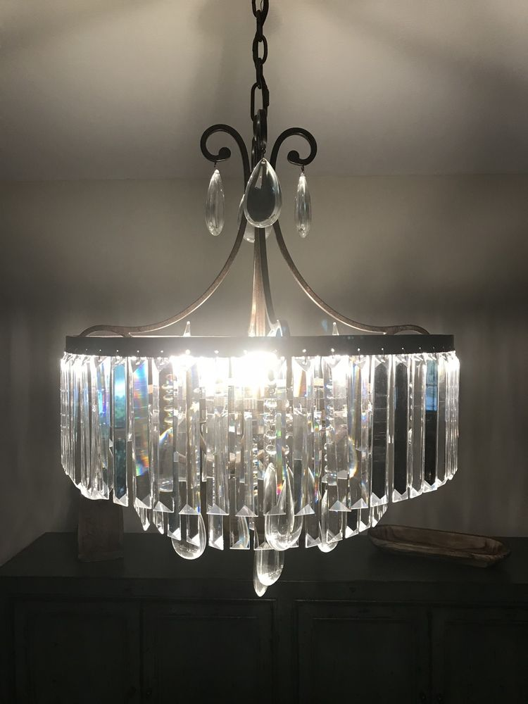 Crystal Glass Prism Chandelier Lamp Pendants,Wrought Iron