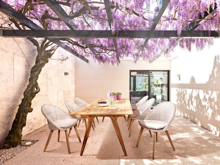 Apple Bee Juul U0026 Fleur Garten Esstisch Set 13 Teilig Teak U0026 Polyrattan  Antik Weiß
