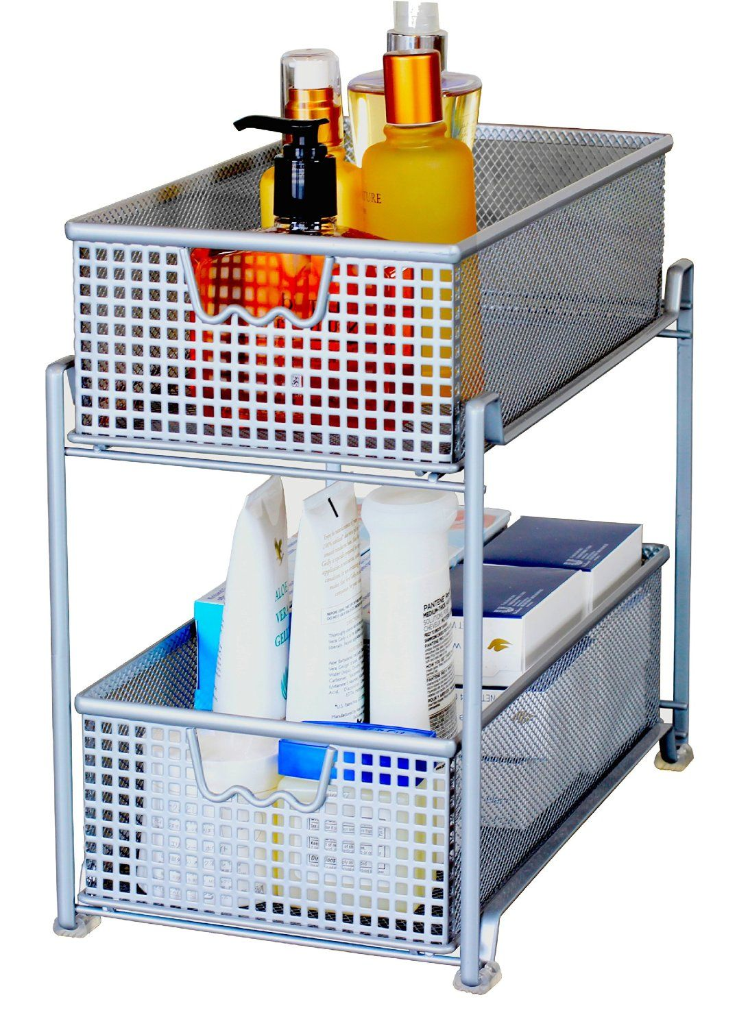Uncategorized Sliding Basket Organizer amazon com decobros two tier mesh sliding cabinet basket organizer drawer silver
