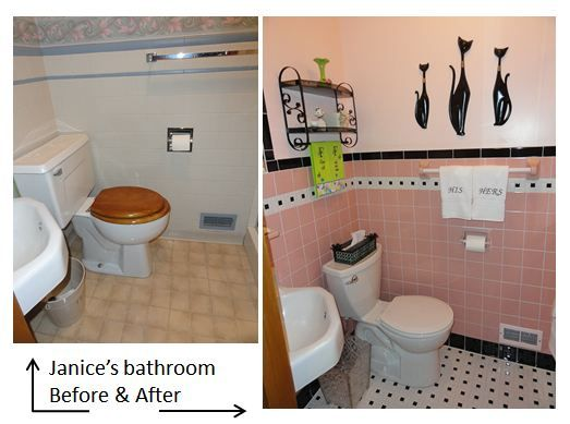 pink bathroom before and after l have a shelftowel bar just like that