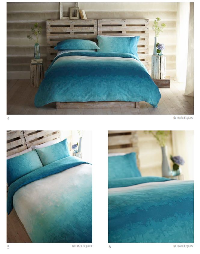 Pallet Bed Base And Headboard With Turquoise Bedding Turquoise