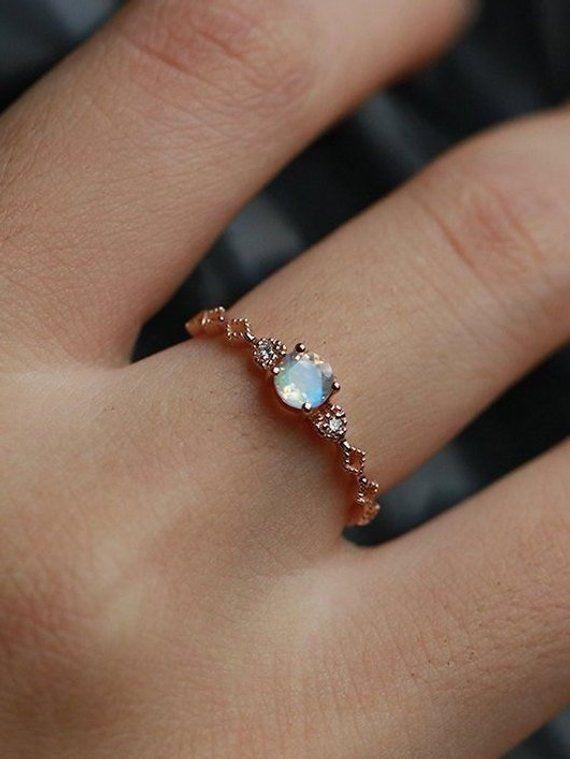 Art deco engagement ring Vintage moonstone diamond rose gold Unique wedding Bridal Jewelry birthstone Anniversary wedding ring