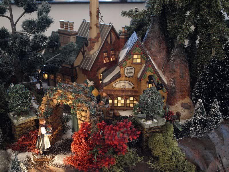 Mini Christmas Village Display.Love The Rock Gate Miniature Village Scene Vintage
