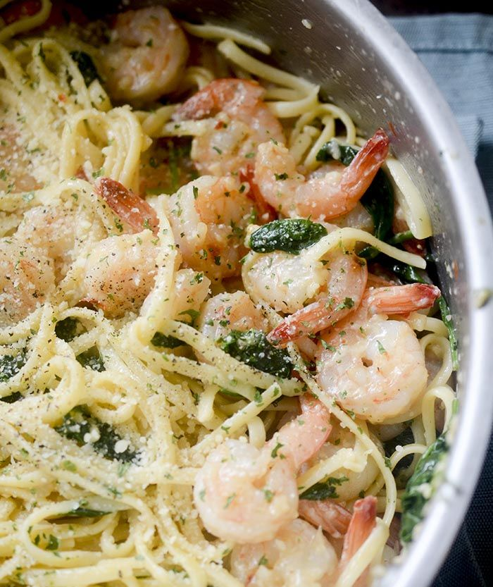 One Pot Lemon Garlic Shrimp Pasta #garlicshrimprecipes