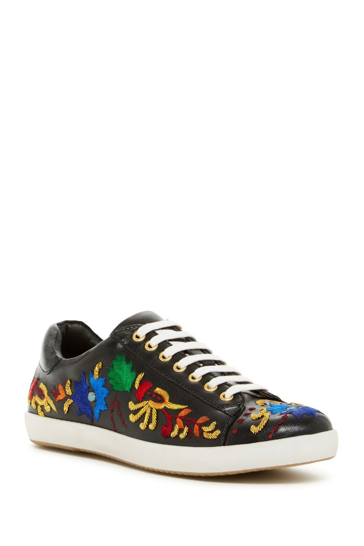 Lola Embroidered Leather Sneaker
