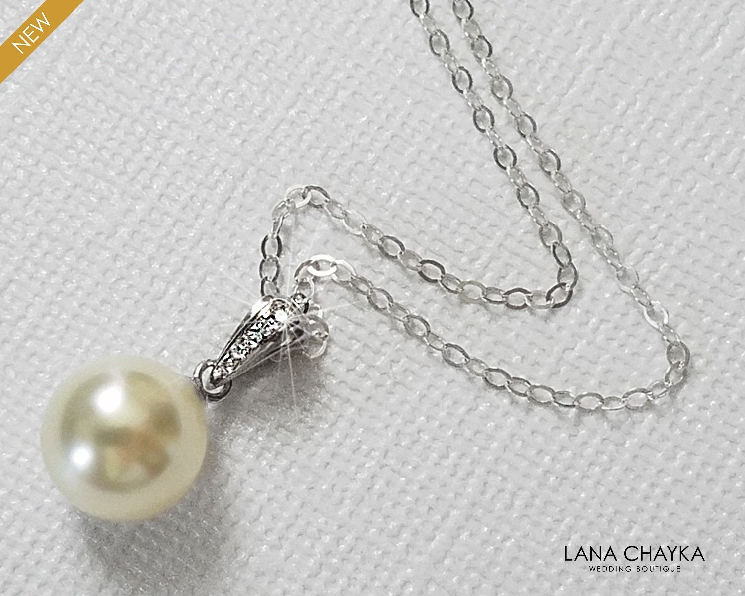 Ivory Single Pearl Bridal Necklace Sterling Silver Pearl Wedding Necklace Swarovski 10mm Pearl Drop Bridal Jewelry Pearl Bridal Jewelry Gold Bridal Earrings