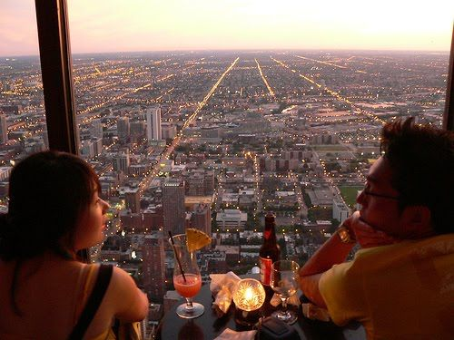 Wonderful Signature Room   95th Floor Over Chicago At Sunset. Perfect