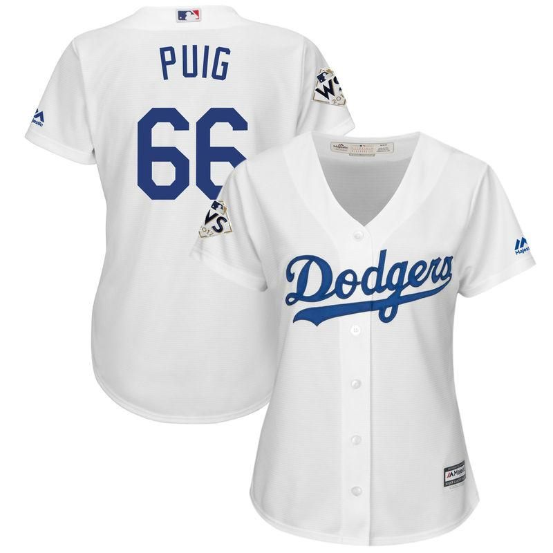 aa3fedd4cd2 Yasiel Puig Los Angeles Dodgers Majestic Women s 2017 World Series Bound  Cool Base Player Jersey – White