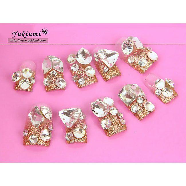 Japanese Nails Gold Glitter Diamond http://himecastle.com/japanese ...