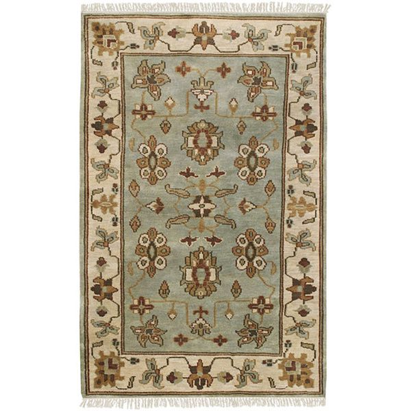 Hand Knotted Light Blue Southwestern Park Ave New Zealand Wool Area Rug 9 X 13 Wool Area Rugs Area Rugs Rugs