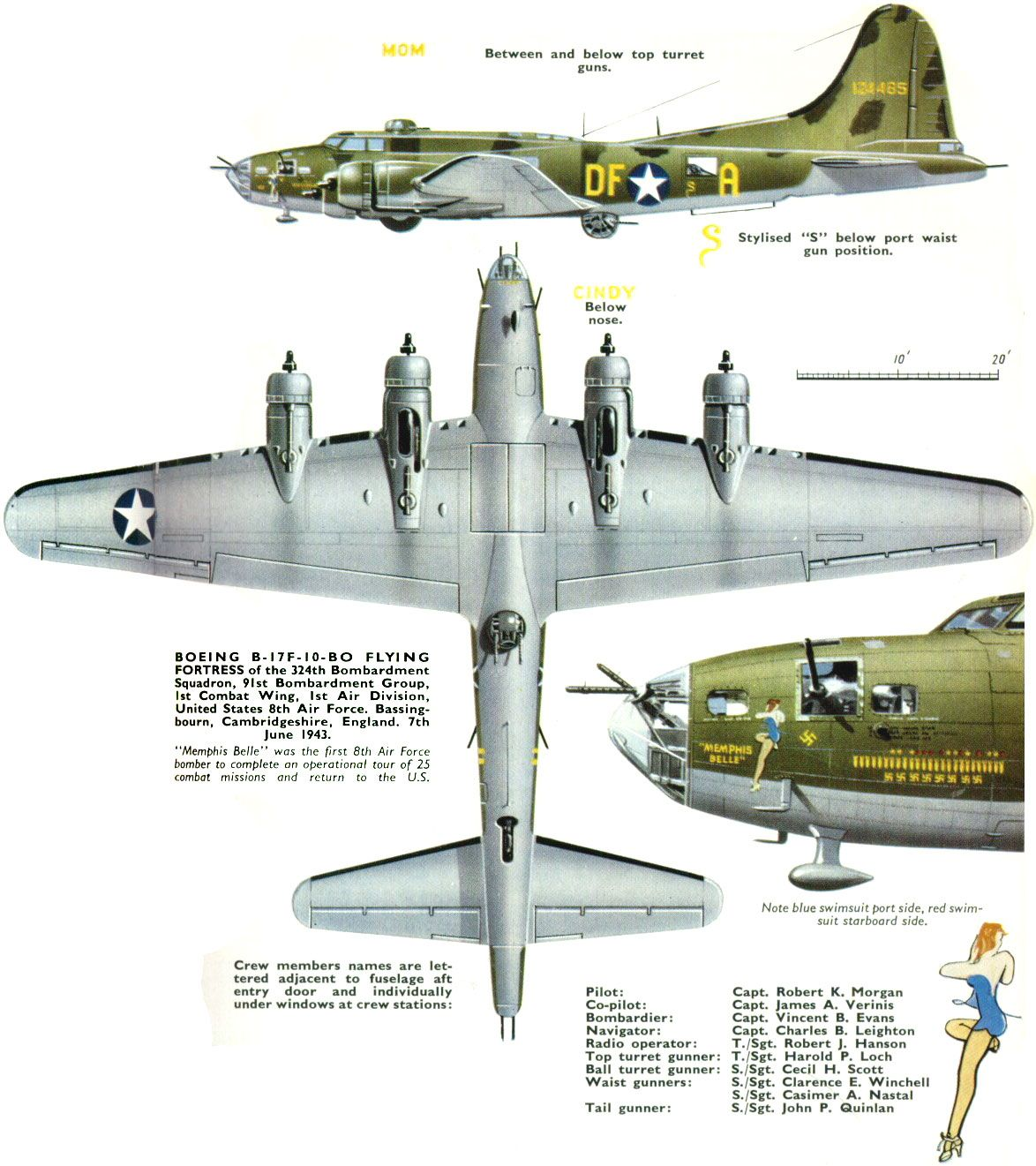 Boeing B17  bomber, the type lown by Nancy's dad in WW II He was shot down  in a bombing raid on Berlin, survived being a POW and went on to become a Strategic Air Command B-52 Command Pilot before retiring.