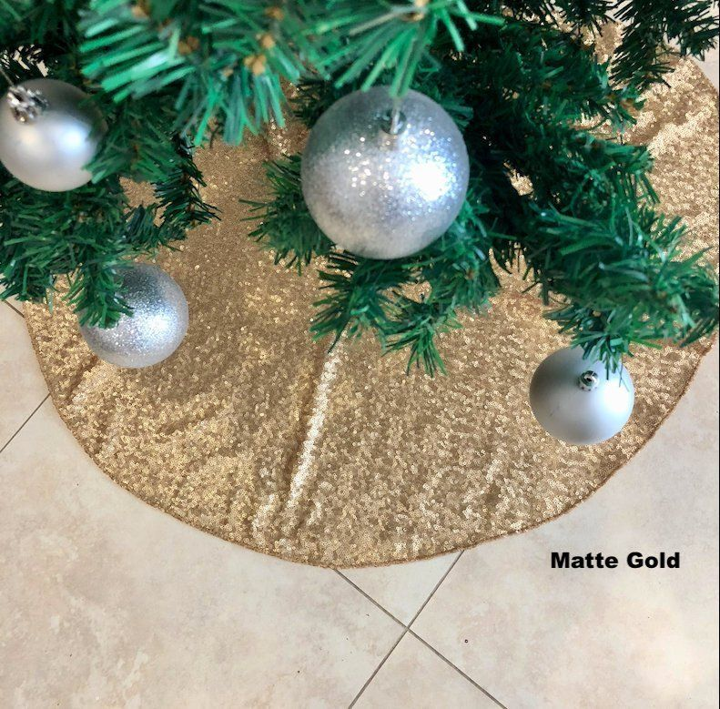 Sequin Tree Skirt Christmas Tree Skirt Gold Sequence Tree Etsy Christmas Tree Skirt Christmas Bulbs Tree Skirts