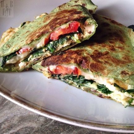 spinach and egg quesadilla