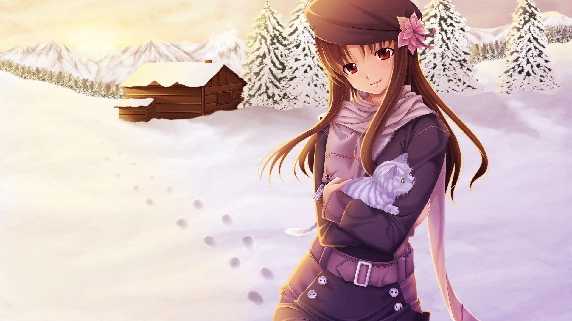 Cute Anime Girl Winter Cartoon Hd Wallpaper Stuff To Buy