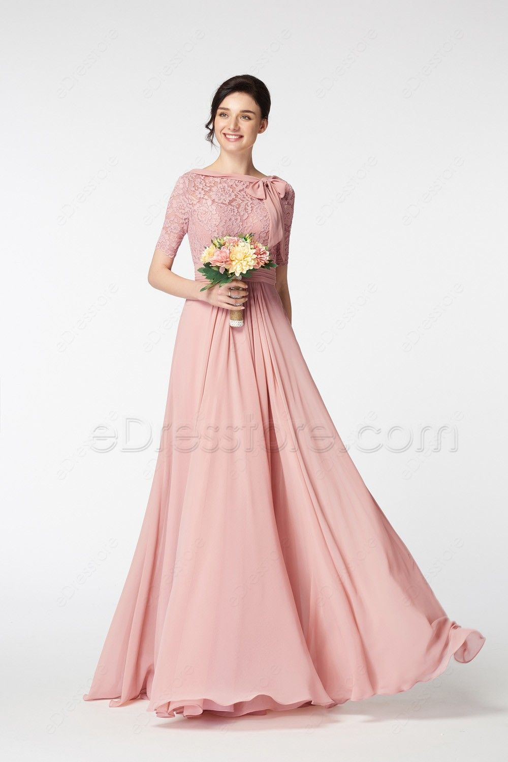 Modest Lace Blush Bridesmaid Dresses with Sleeves Bow | Comprar y Cosas