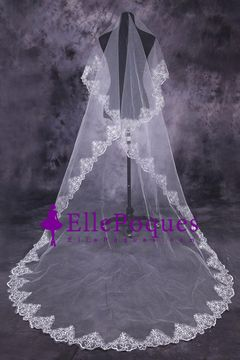One-Tier Cathedral Bridal Veils With Applique US$ 43.99 EQPB428NYG - ellepoques.com for mobile