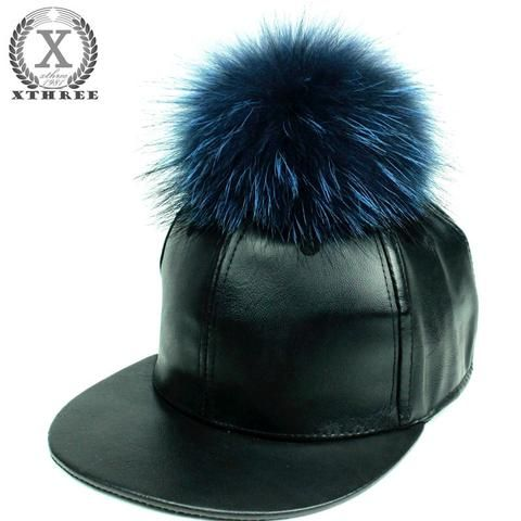 fur kangol baseball cap fashion leather real mink pom poms ball hip hop hat caps faux