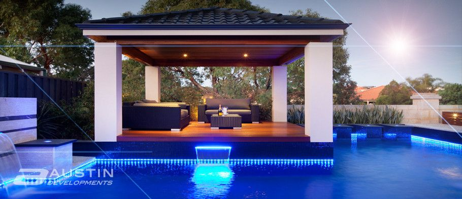 tropical pool cabanas | Perth Cabanas, Timber Cabanas, Cabana Design, Cabana Construction ...