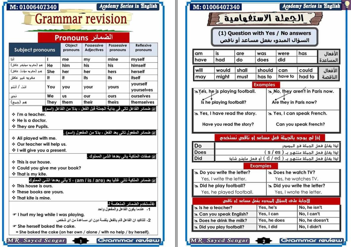شرح شامل ومبسط لكل جرامر اللغة الانجليزية لابتدائى واعدادى وثانوى فى 20 ورقة All English Grammar English Grammar Grammar