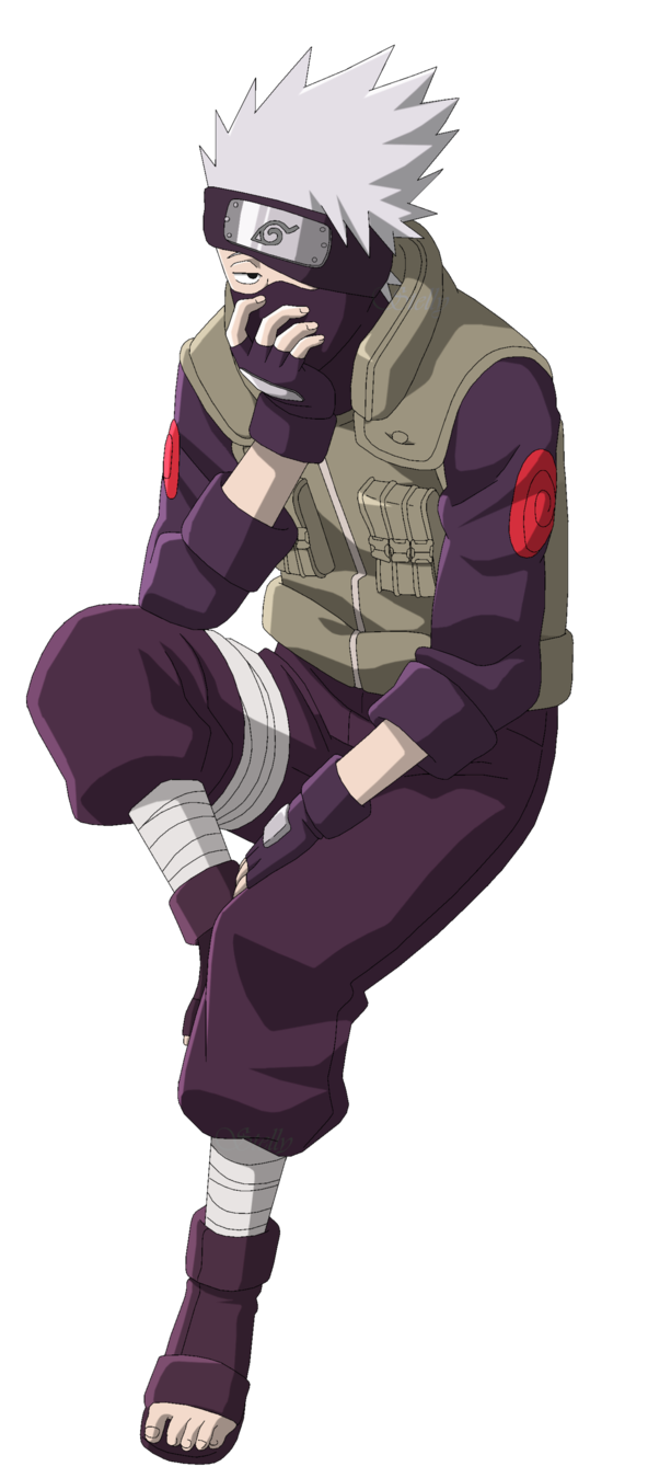 Kakashi Hatake Sitting Lineart Colored by DennisStelly