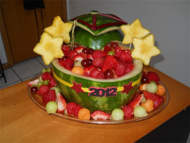 Watermelon Carvings For Graduation Graduation basket · carved | AIP ...
