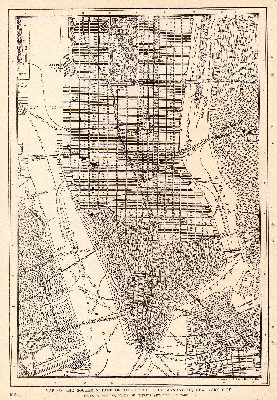 1917 Antique Manhattan City Map Of New York City Street Map New York City Map Map Of New York Manhattan Map
