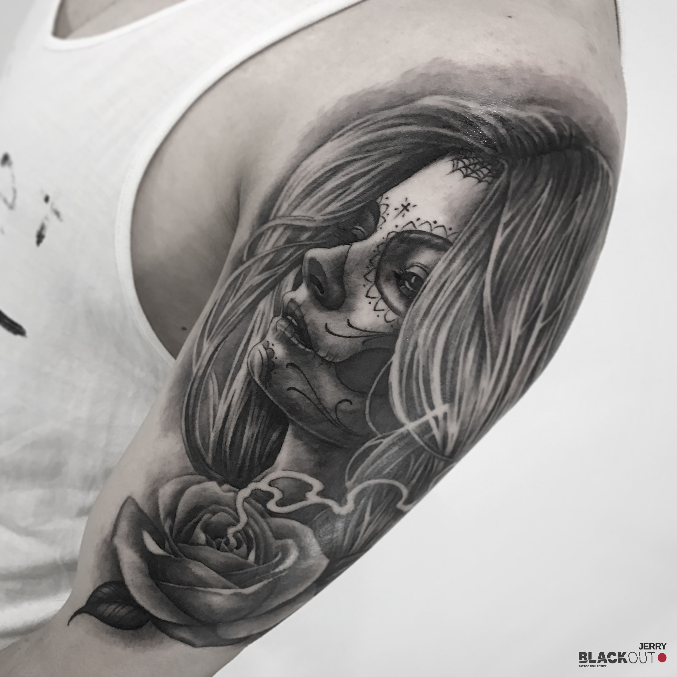 Girl and rose by jerry_tattoo blackouttattoocollective