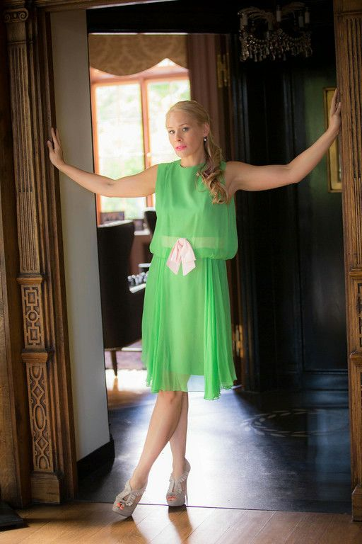 Elinor Gay Great Gatsby Green Chiffon Drop Waist Dress w Pink
