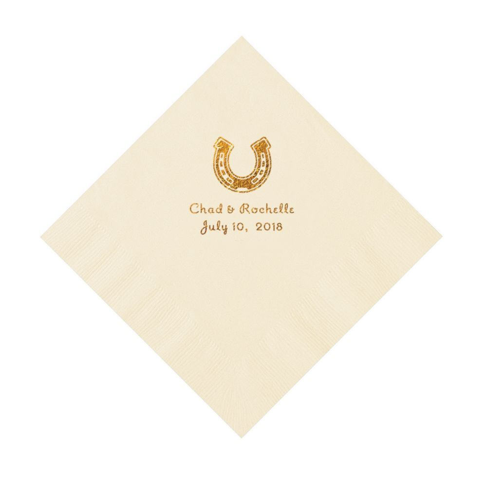 Wedding Personalized Napkins ivory horseshoe personalized napkins with gold ink luncheon luncheon