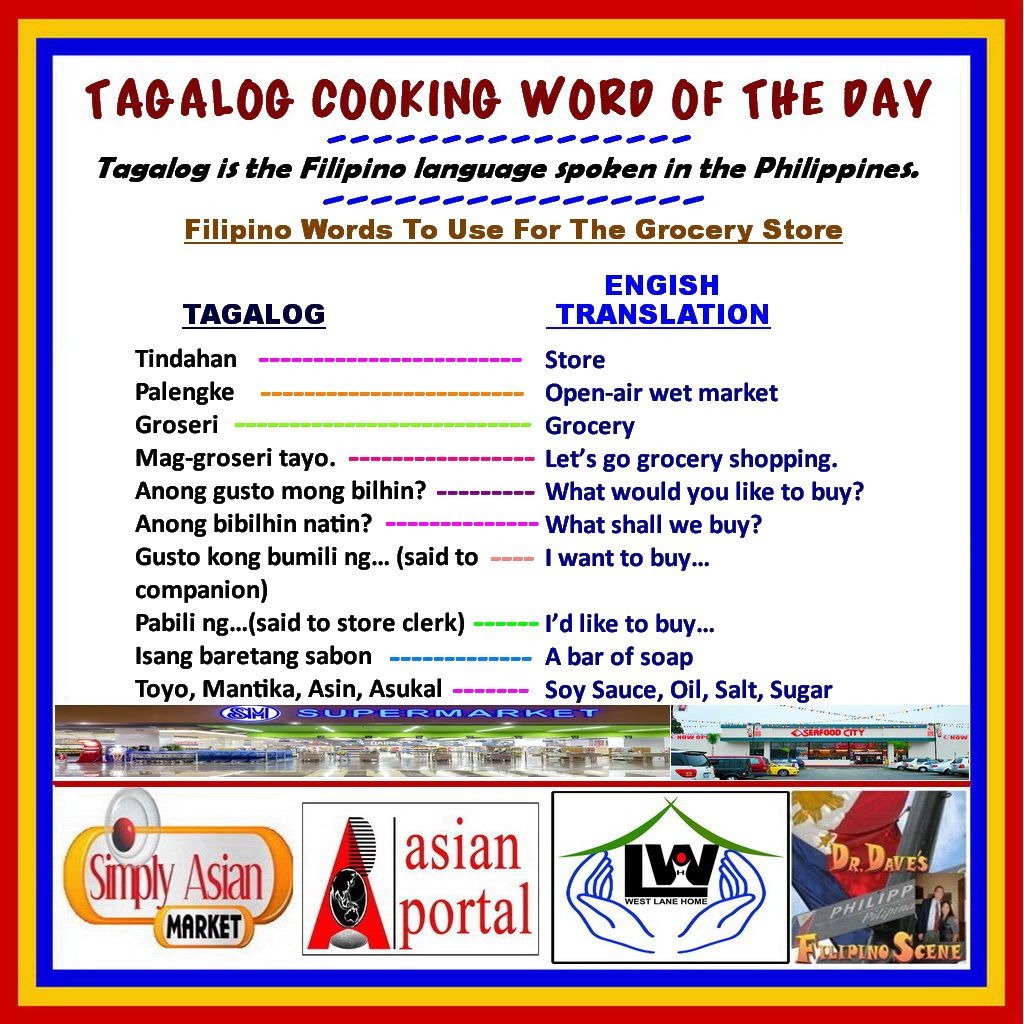 TAGALOG Cooking Word of the Day Words at Grocery Store TAGALOG