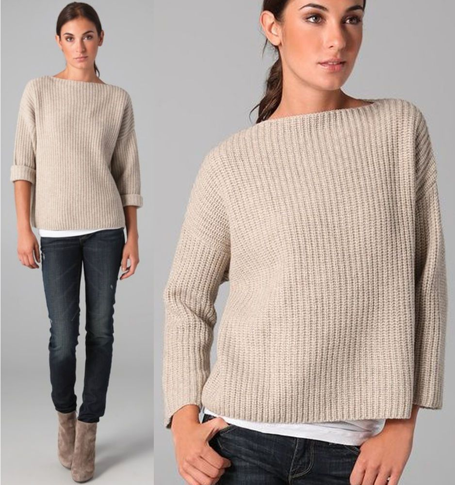 edfba6317ee6d9 VINCE Chunky Boatneck Sweater Yak Wool Oversize Ribbed Knit Slouchy Oatmeal  Crop #Vince #BoatNeck