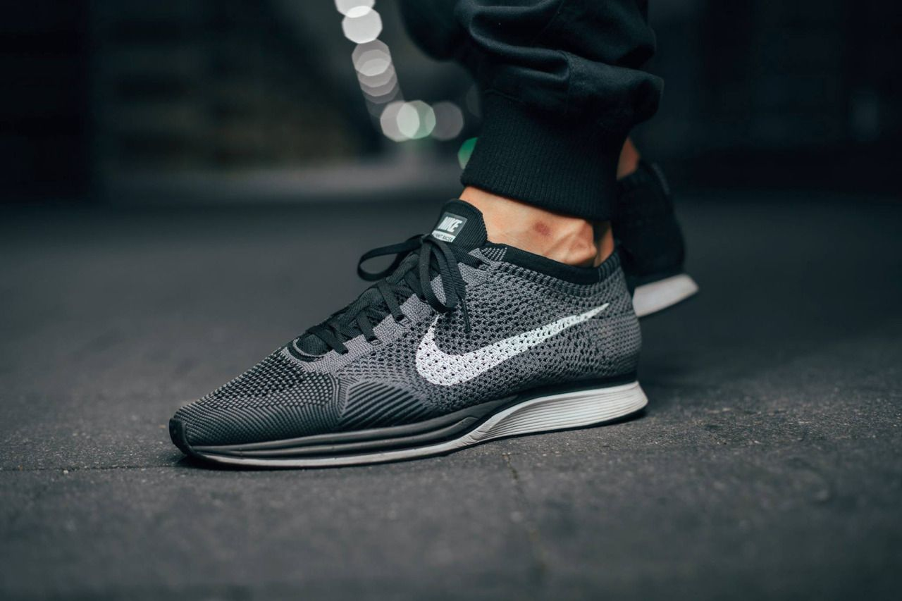 Black And White Flyknit Racer On Feet Nike flyknit racer  dark greywhite