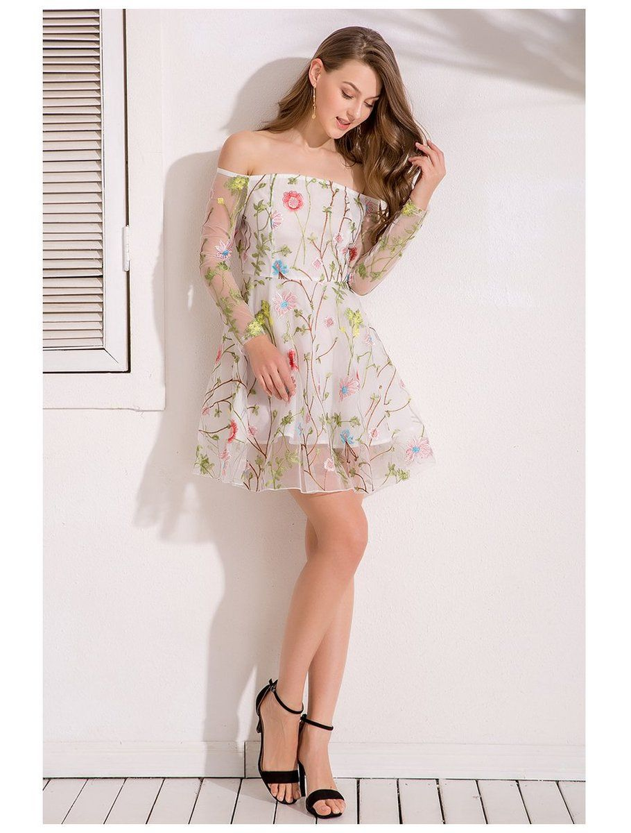 White floral embroidery short dress fashion pinterest floral