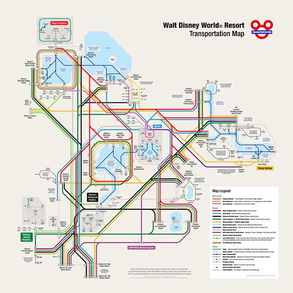 Disneyland Locations World Map.Walt Disney World Transportation Map In Metro Style In 2019