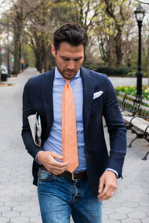 Menu0026#39;s Navy Linen Blazer Light Blue Dress Shirt Blue Jeans Orange Tie | White pocket square ...