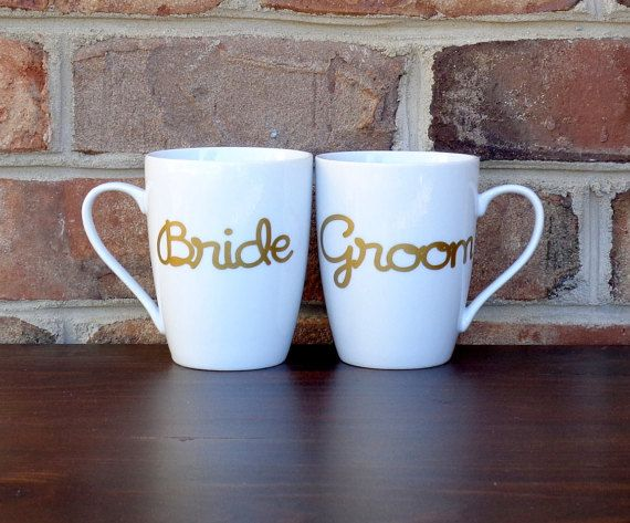 Bride and Groom gift, Bride and Groom mugs, unique wedding gifts by PeabodyandCo