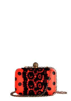 Cute As A Bug Clutch. This little neon dotted pocket book from Darling packs quite the style punch. #red #prom #modcloth