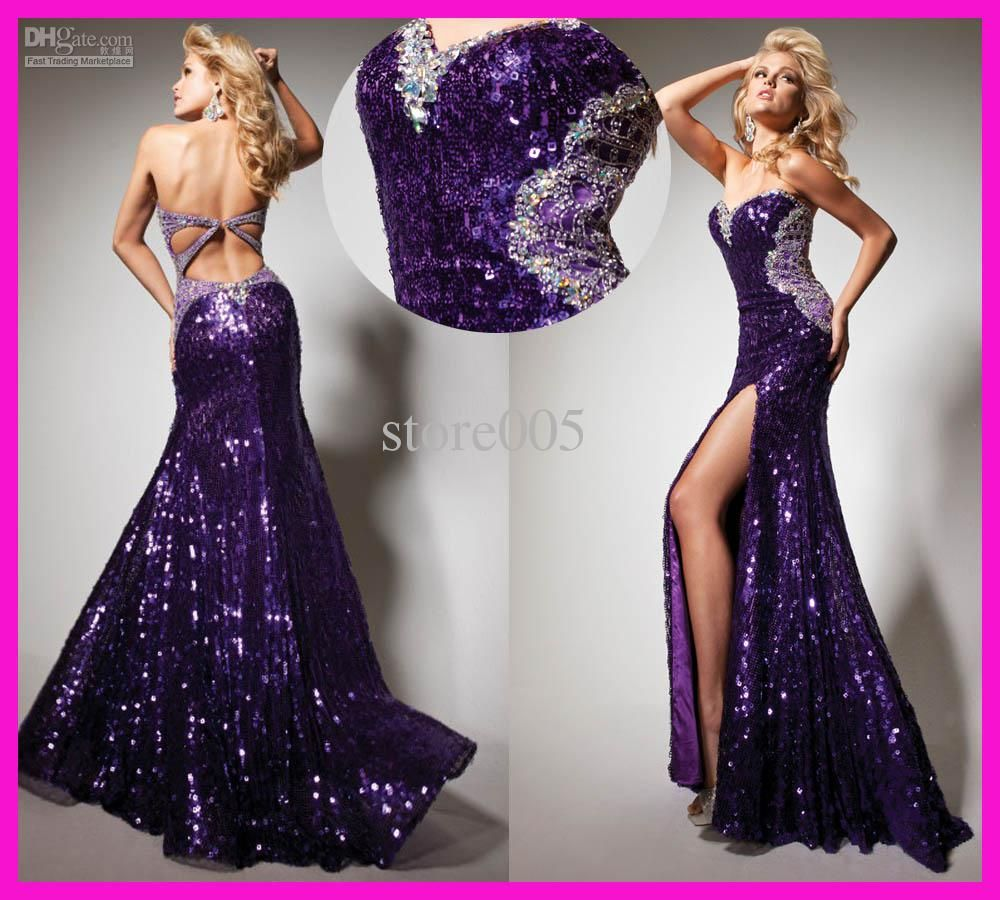 Wholesale evening dresses buy hot sell purple sequins backless