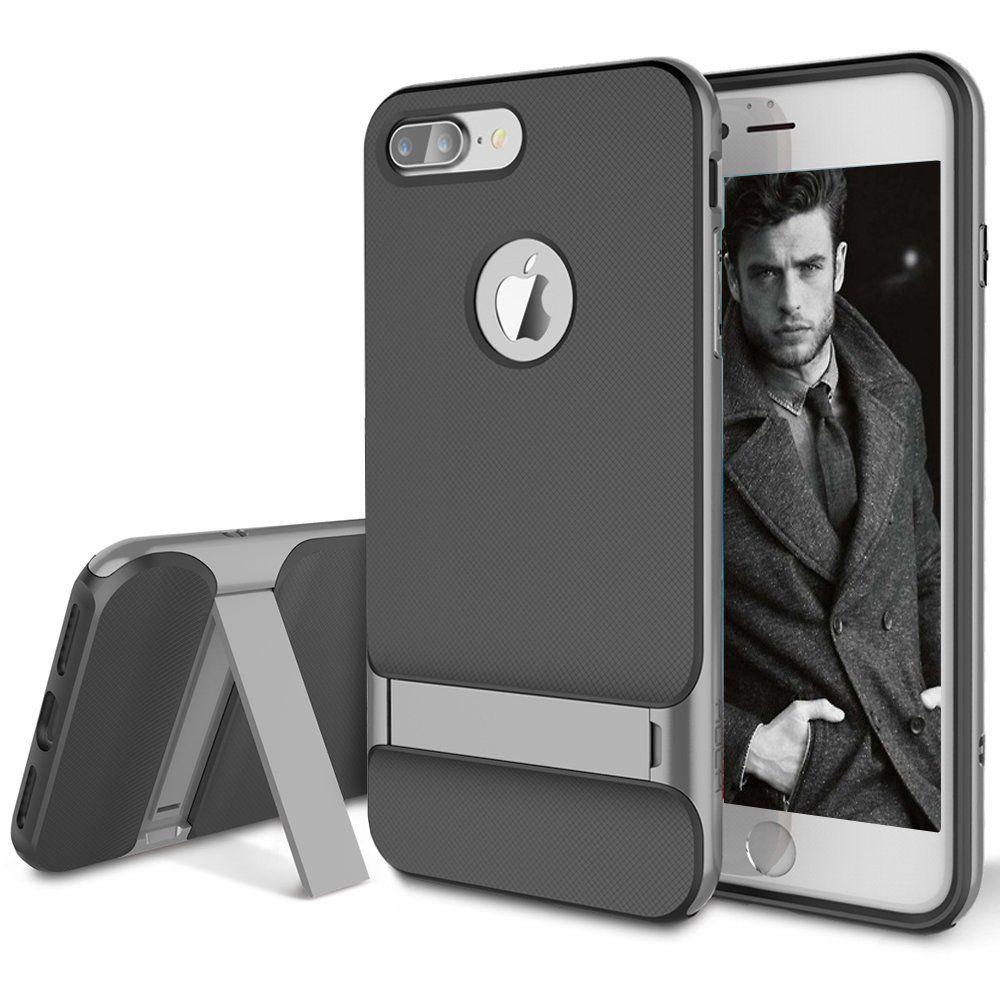 iphone 7 plus case, rock [royce stand] black \u0026 iron grey [ultraiphone 7 plus case, rock [royce stand] black \u0026 iron grey [ultra thin][kickstand][metal texture side buttons][dual layered][slim fit][hard pc soft tpu]