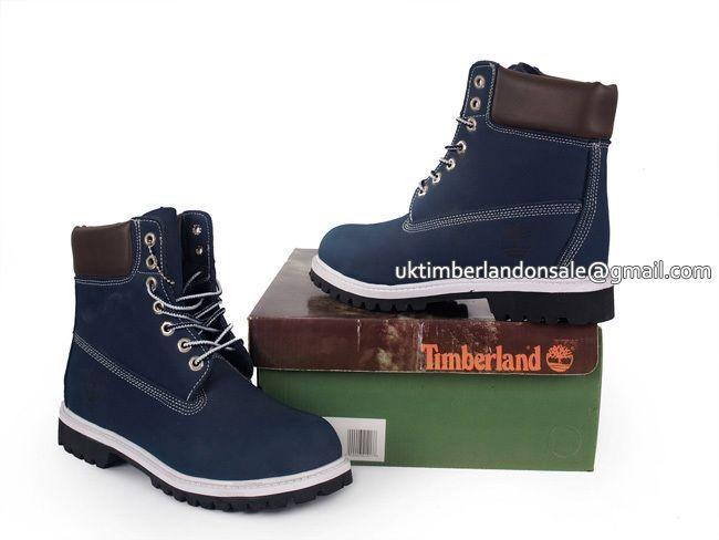 UK Timberland Men 6 Inch Premium boots Blue and Brown - Men's.