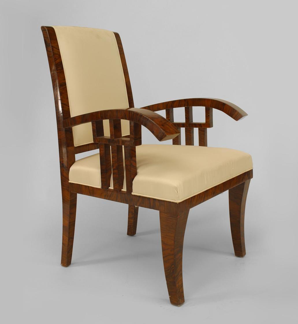 Art Deco Continental seating chair/arm chair-pair walnut