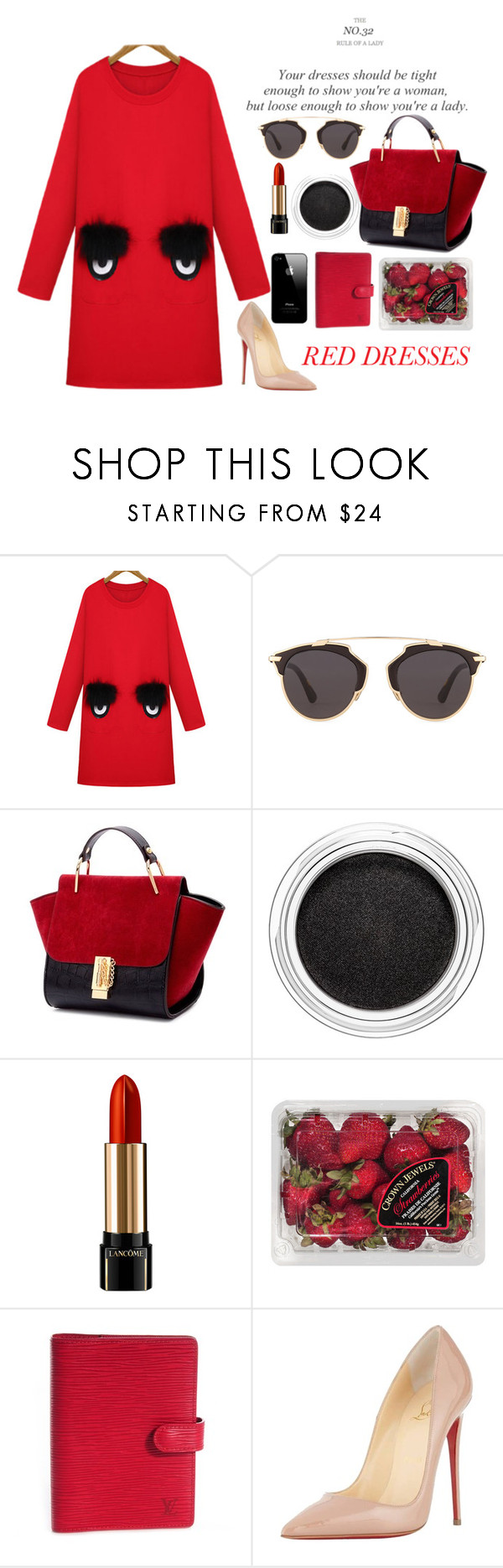 """I see you"" by strange-girl0 ❤ liked on Polyvore featuring WithChic, Christian Dior, Clarins, Lancôme, FRUIT, Louis Vuitton, Christian Louboutin and reddress"
