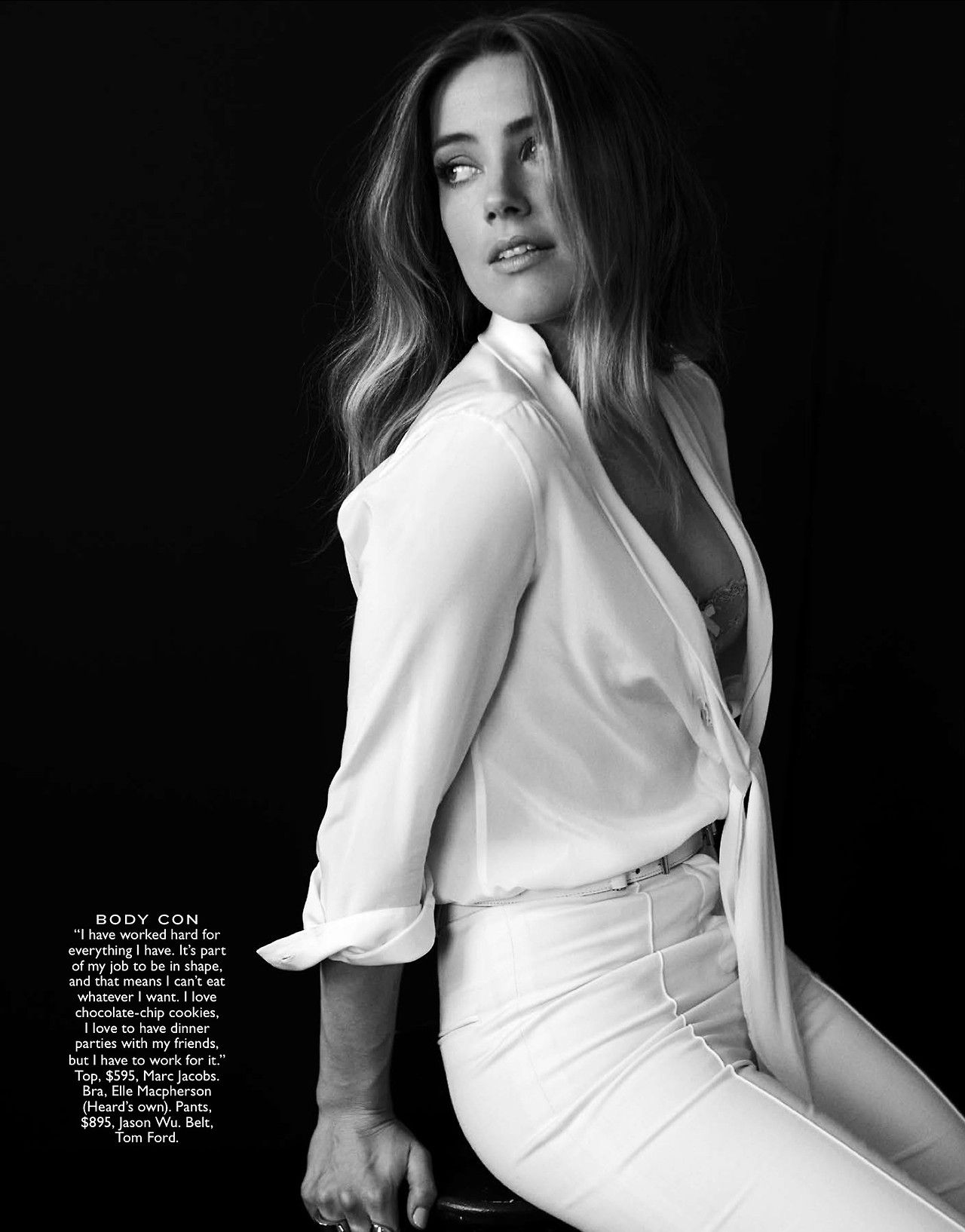 Amber Heard in classic neutrals for Flare magazine. Shot by Kurt Iswarienko and styled by Erin Walsh. White SilkFront Tie Blouse Belt White Pants