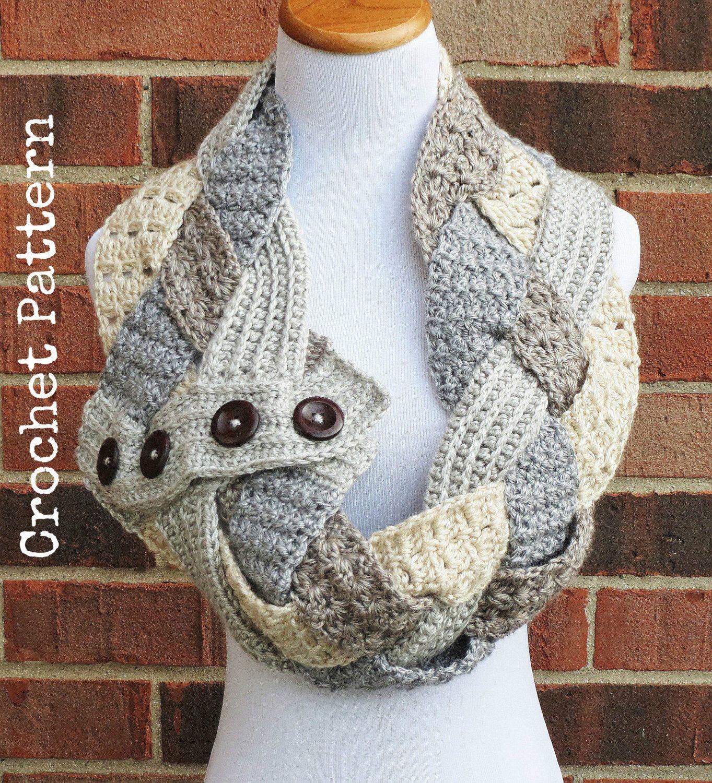 CROCHET COWL PATTERN Crochet Neckwarmer Pattern Button Infinity ...