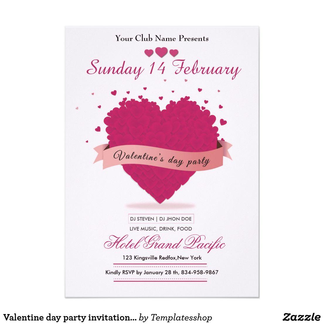 Valentine Day Party Invitation Card Zazzle Com