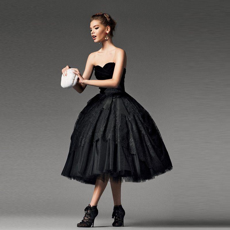 Schwarze Gothic Dubai Abendkleider Tee Länge Schatz Velvet Korsett ...